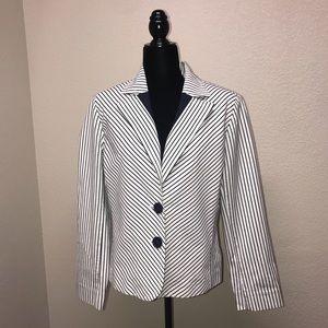 Jones New York White Blue Striped Blazer size 12